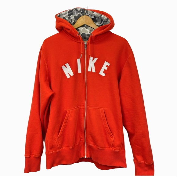 Nike Men's Full Zip Up Hoodie Jacket Orange XL